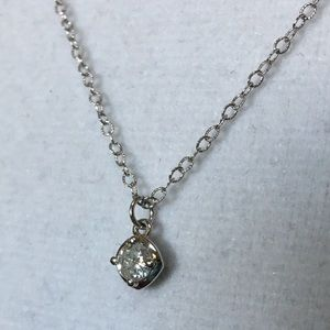 Jewelry - 14K White Gold Natural Diamond Solitaire Necklace